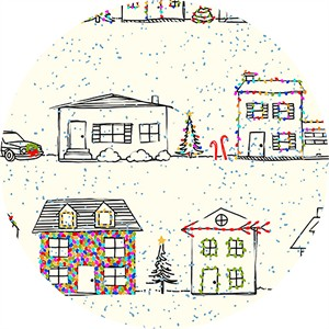 Alicia Jacobs for Ink & Arrow, Naughty or Nice, Christmas Houses Ecru
