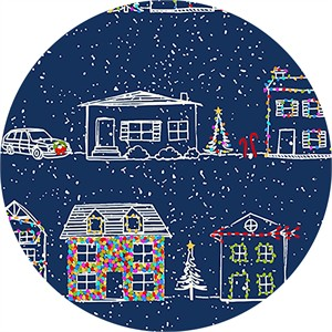 Alicia Jacobs for Ink & Arrow, Naughty or Nice, Christmas Houses Navy
