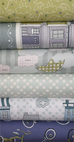 Claudine Hellmuth for Andover, The Neighborhood, Cloudy in FAT QUARTERS 6 Total (PRE-CUT)