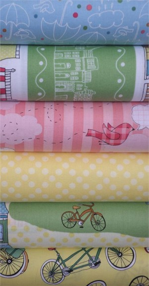 Claudine Hellmuth for Andover, The Neighborhood, Sunny in FAT QUARTERS 6 Total (PRE-CUT)