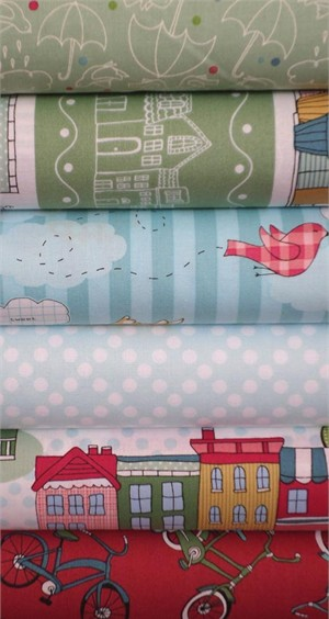 Claudine Hellmuth for Andover, The Neighborhood, Sky in FAT QUARTERS 6 Total (PRE-CUT)
