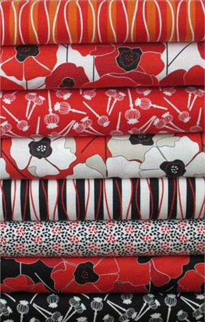 Clothworks, Poppy Passion in FAT QUARTERS 8 Total