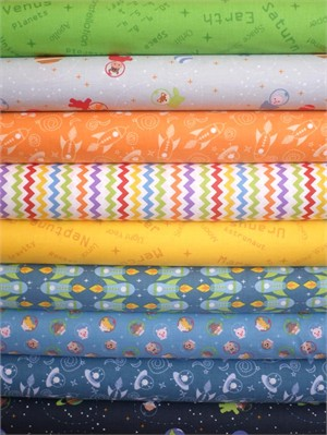 Clothworks, Space Age, Jupiter in FAT QUARTERS 8 Total (PRE-CUT)