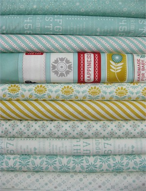 Cosmo Cricket, Baby Jane, Aqua in FAT QUARTERS 8 Total