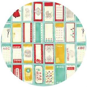"Cosmo Cricket, Baby Jane, Labels Aqua (24"" Panel)"