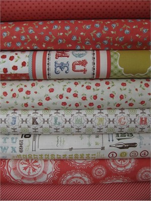 Cosmo Cricket, Odds & Ends, Vintage Rosebud in FAT QUARTERS, 8 Total