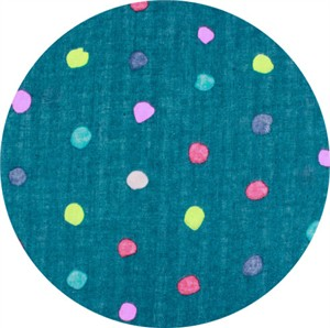 Nani Iro, DOUBLE GAUZE, Colorful Pocho Teal\Neon