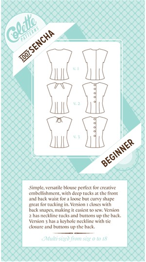 Colette Sewing Patterns,  Sencha Blouse Pattern