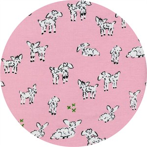 Alexia Marcelle Abegg for Cotton and Steel, Clover, Little Lambs Pink