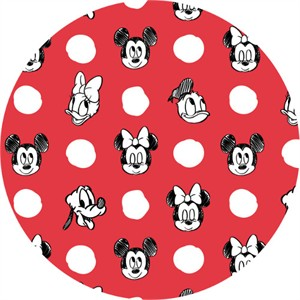 Camelot Fabrics, Mickey Mouse & Friends, Character Jumbo Dots Ruby