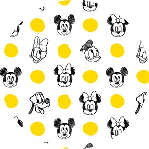 Camelot Fabrics, Mickey Mouse & Friends, Character Jumbo Dots Sunshine