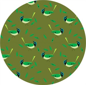 AVAILABLE FOR PREORDER, Charley Harper for Birch Organic Fabrics, Western Birds, Green Jay
