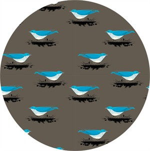 COMING SOON, Charley Harper for Birch Organic Fabrics, Western Birds, KNIT, Mountain Blue Bird