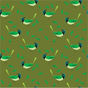 AVAILABLE FOR PREORDER, Charley Harper for Birch Organic Fabrics, Western Birds, KNIT, Green Jay