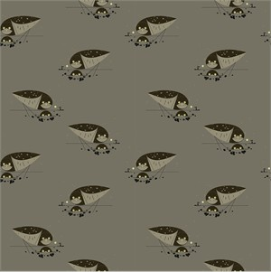Charley Harper for Birch Organic Fabrics, Western Birds, KNIT, Burrowing Owl