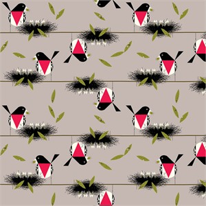 COMING SOON, Charley Harper for Birch Organic Fabrics, Bird Architects, Rose Breasted Grosbeak