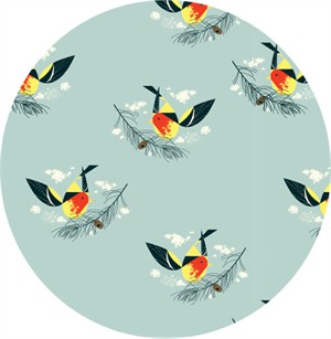 AVAILABLE FOR PREORDER, Charley Harper for Birch Organic Fabrics, Western Birds, Western Tanager