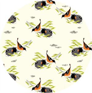 COMING SOON, Charley Harper for Birch Organic Fabrics, Bird Architects, KNIT, Baltimore Oriole