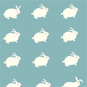 Emily Isabella for Birch Organic Fabrics, Wonderland, White Rabbit Aqua