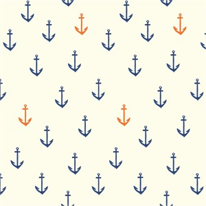 Emily Winfield Martin for Birch Organic Fabrics, Saltwater, DOUBLE GAUZE, Anchors Aweigh