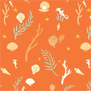 Emily Winfield Martin for Birch Organic Fabrics, Saltwater, Flotsam and Jetsam Coral