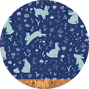 Felice Regina for Windham Fabrics, Luna Sol, Moonlight Meadow Midnight