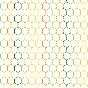 Jay-Cyn Designs for Birch Organic Fabrics, Farm Fresh, KNIT, Chicken Wire Fabric Multi