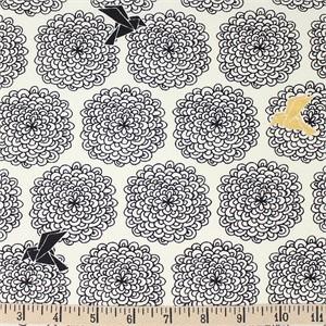 COMING SOON, Jay-Cyn Designs for Birch Organic Fabrics, Inkwell, Birds and Blossoms Black/Metallic