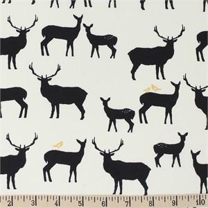 COMING SOON, Jay-Cyn Designs for Birch Organic Fabrics, Inkwell, Elk Fam Black/Metallic