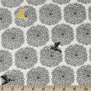 COMING SOON, Jay-Cyn Designs for Birch Organic Fabrics, Inkwell, DOUBLE GAUZE, Birds and Blossoms Black/Metallic