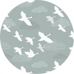 Lewis & Irene, Down By The River, Swans in Flight Pale Grey