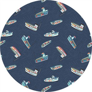 Lewis & Irene, Harbour Side, Fishing Boats Navy Blue