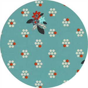 Melody Miller for Cotton and Steel, Fruit Dots, Fruit Blossoms Blue