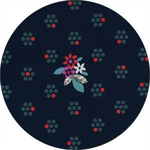 Melody Miller for Cotton and Steel, Fruit Dots, Fruit Blossoms Navy