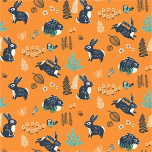 AVAILABLE FOR PREORDER, Miriam Bos for Birch Organic Fabrics, The Hidden Garden, Bunny Hop Orange
