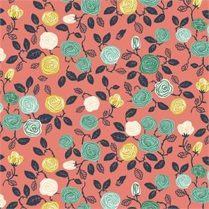 Miriam Bos for Birch Organic Fabrics, The Hidden Garden, KNIT, Roses Coral