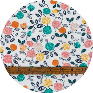 Miriam Bos for Birch Organic Fabrics, The Hidden Garden, DOUBLE GAUZE, Roses Cream