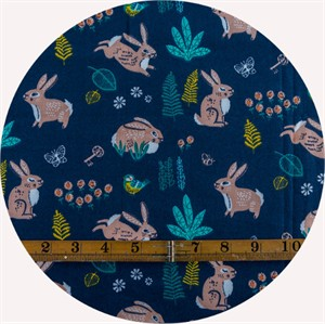 Miriam Bos for Birch Organic Fabrics, The Hidden Garden, Bunny Hop Dusk