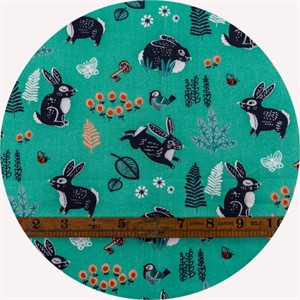 Miriam Bos for Birch Organic Fabrics, The Hidden Garden, Bunny Hop Green