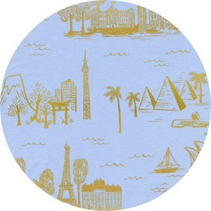 Rifle Paper Co. for Cotton and Steel, Les Fleurs, LAWN, City Toile Pale Blue