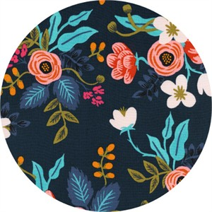 Rifle Paper Co. for Cotton and Steel, Les Fleurs, RAYON, Birch Floral Navy