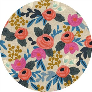 Rifle Paper Co. for Cotton and Steel, Les Fleurs, CANVAS, Rosa Floral Natural