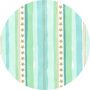 Sarah Jane for Michael Miller, Magic!, Stars and Stripes Metallic Aqua