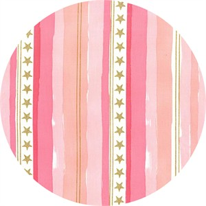 Sarah Jane for Michael Miller, Magic!, Stars and Stripes Metallic Pink