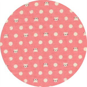 Sarah Watts for Cotton and Steel, Cat Lady, DOUBLE GAUZE, Friskers Pink