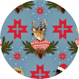 Tula Pink for Free Spirit, Holiday Homies, Buck Buck Goose Blue Spruce