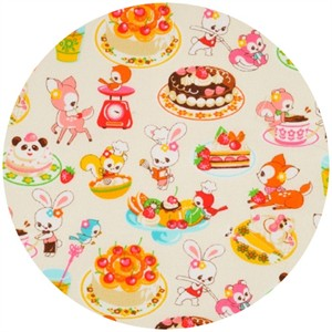 Cosmo Textiles, Animal Friends, Cooking Sweets Ivory