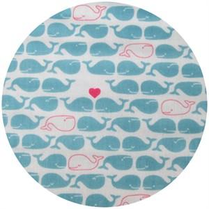 Cosmo Textiles, DOUBLE GAUZE, Lovey Dovey Whales, Aqua