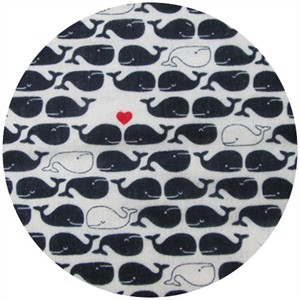 Cosmo Textiles, DOUBLE GAUZE, Lovey Dovey Whales, Navy