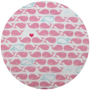 Cosmo Textiles, DOUBLE GAUZE, Lovey Dovey Whales, Pink